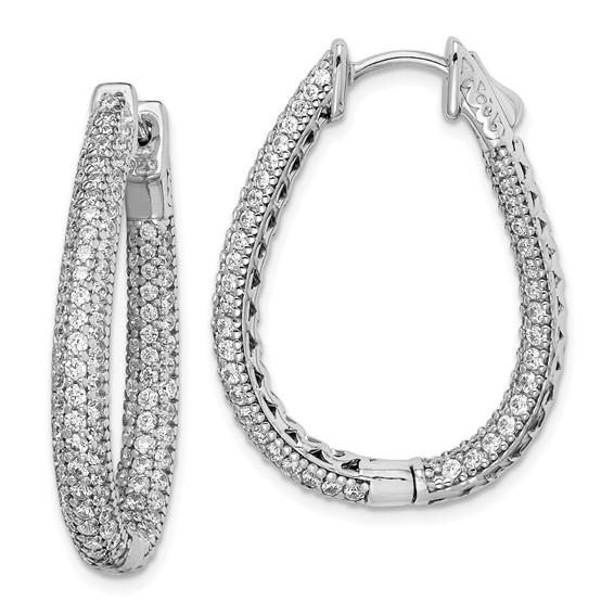 1 1/4in Sterling Silver with CZ Teardrop Hinged Hoop Earrings