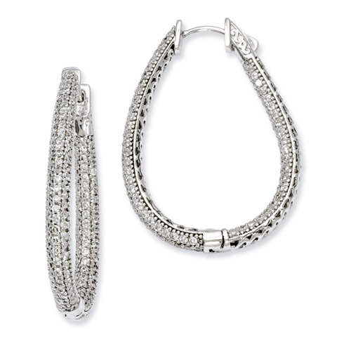 1 1/2in Sterling Silver with CZ Teardrop Hinged Hoop Earrings