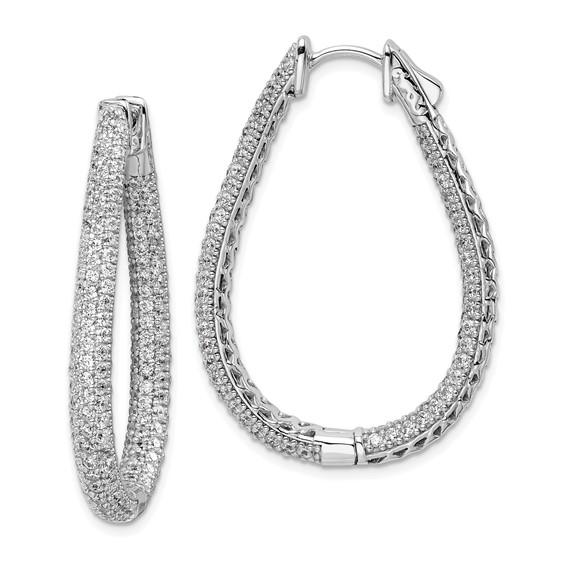 1 1/2in Sterling Silver with CZ Teardrop Hinged Hoop Earrings