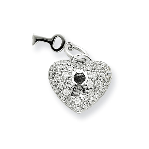 5/8in Key & Heart CZ Pendant - Sterling Silver