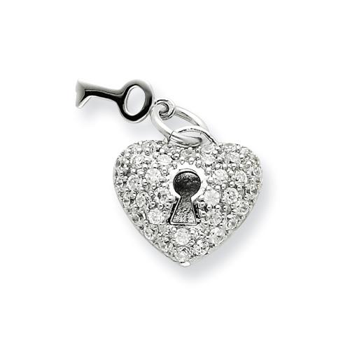 5/8in Key & Heart CZ Pendant - Sterling Silver