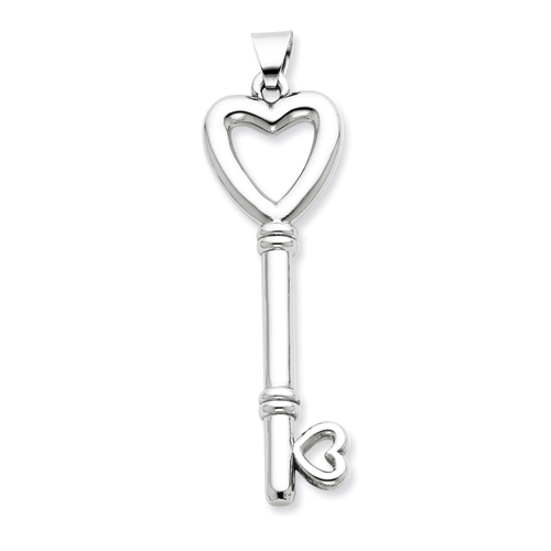 Sterling Silver 2in Hollow Heart Key Pendant