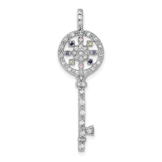 1 1/2in Multi-CZ Key Pendant - Sterling Silver