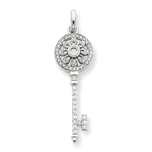 1 1/2in CZ Petals Key Pendant - Sterling Silver