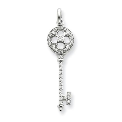 1 1/2in Sterling Silver CZ Key Pendant