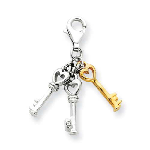 Sterling Silver 5/8in Diamond Accent Keys Pendant