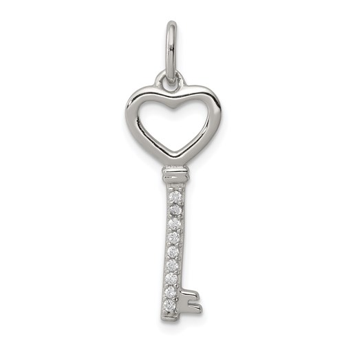 Sterling Silver 1in Cubic Zirconia Heart Key Pendant