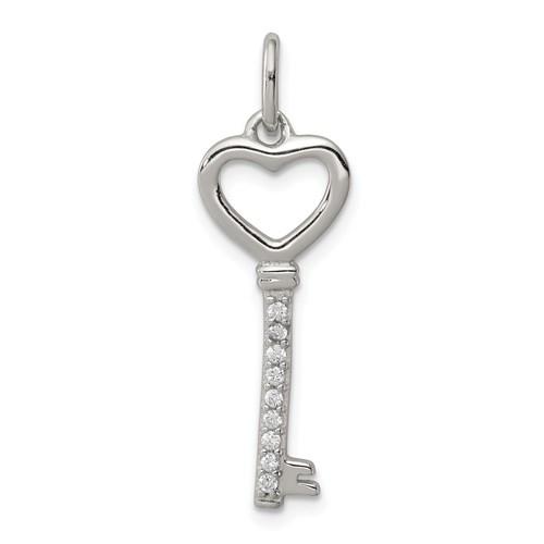 Sterling Silver 1in Cubic Zirconia Heart Key Pendant