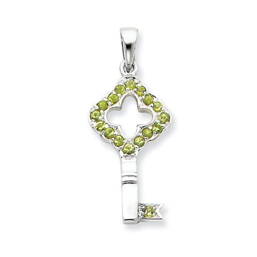 1in Green CZ Key Pendant - Sterling Silver