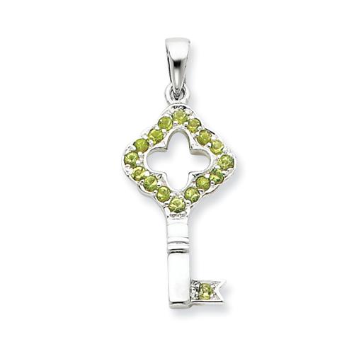 1in Green CZ Key Pendant - Sterling Silver