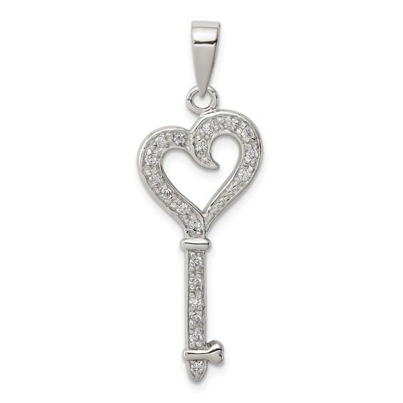 Sterling Silver 1 1/4in CZ Heart Key Pendant