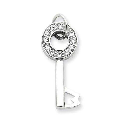 7/8in CZ Key Pendant - Sterling Silver