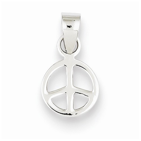 Sterling Silver 3/8in Peace Symbol Pendant