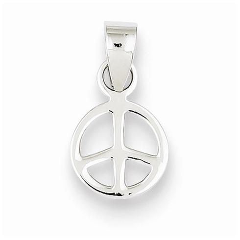 Sterling Silver 3/8in Peace Symbol Pendant
