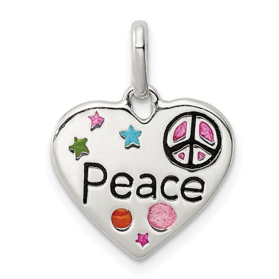 Sterling Silver 1/2in Heart Peace Enamel Charm