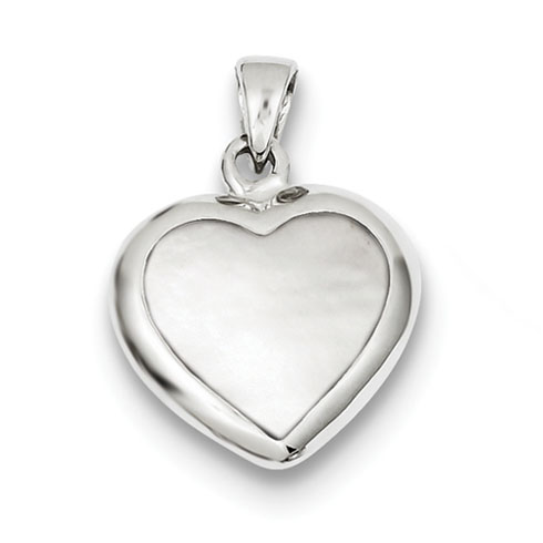 Sterling Silver Onyx & MOP Reversable Heart Pendant