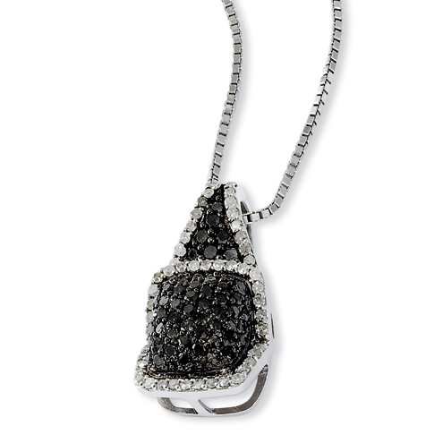 1 Ct Sterling Silver Black and White Diamond Necklace
