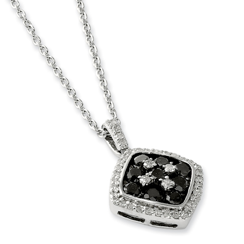 1.2 Ct Sterling Silver Black and White Diamond Necklace