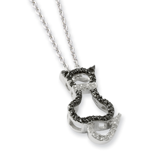 0.25 Ct Sterling Silver Black and White Diamond Necklace