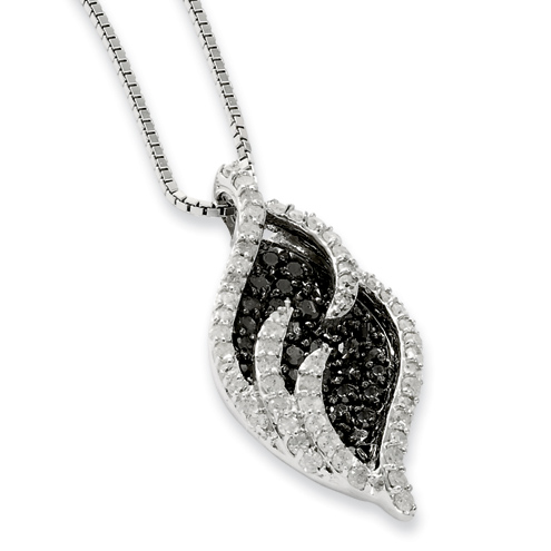 1.61 Ct Sterling Silver Black and White Diamond Necklace