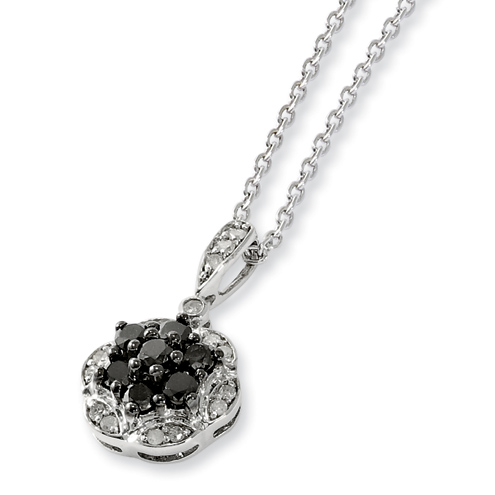 0.5 Ct Sterling Silver Black and White Diamond Necklace
