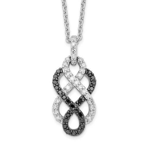 0.53 Ct Sterling Silver Black and White Diamond Necklace
