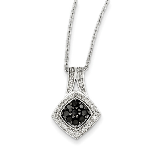 0.45 Ct Sterling Silver Black and White Diamond Necklace