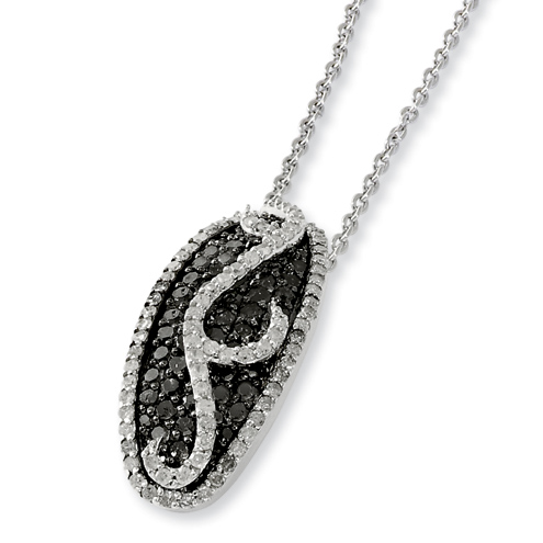 1.4 Ct Sterling Silver Black and White Diamond Necklace