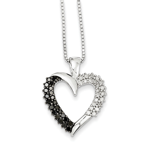 0.71 Ct Sterling Silver Black and White Diamond Necklace