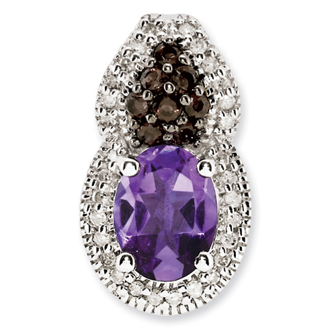 1.05 ct Sterling Silver Amethyst and Smokey Quartz and Diamond Pendant