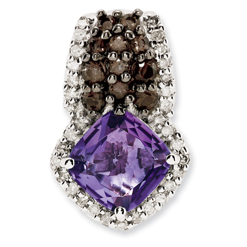 1.45 ct Sterling Silver Amethyst and Smokey Quartz and Diamond Pendant