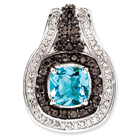 Sterling Silver 1.6ct Cushion Blue Topaz Smoky Quartz Diamond Pendant