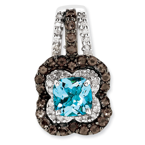 1.1 ct Sterling Silver Blue Topaz and Smokey Quartz and Diamond Pendant