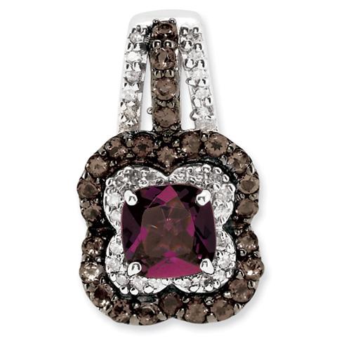 1.3 ct Sterling Silver Rhodolite Garnet and Smokey Quartz and Diamond Pendant