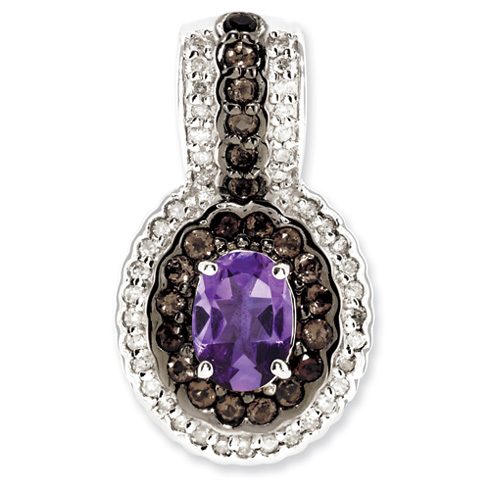 0.75 ct Sterling Silver Amethyst and Smokey Quartz and Diamond Pendant