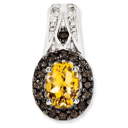 0.8 ct Sterling Silver Citrine and Smokey Quartz and Diamond Pendant