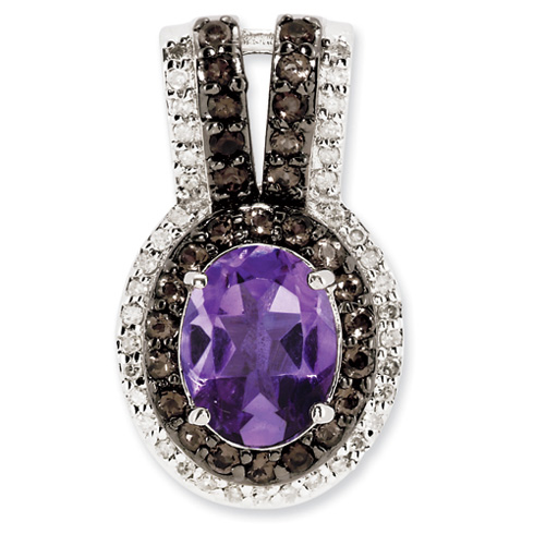 1.6 ct Sterling Silver Amethyst and Smokey Quartz and Diamond Pendant