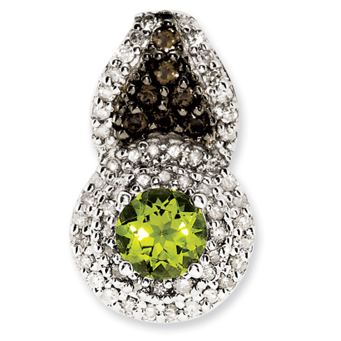 0.56 ct Sterling Silver Peridot and Smokey Quartz and Diamond Pendant