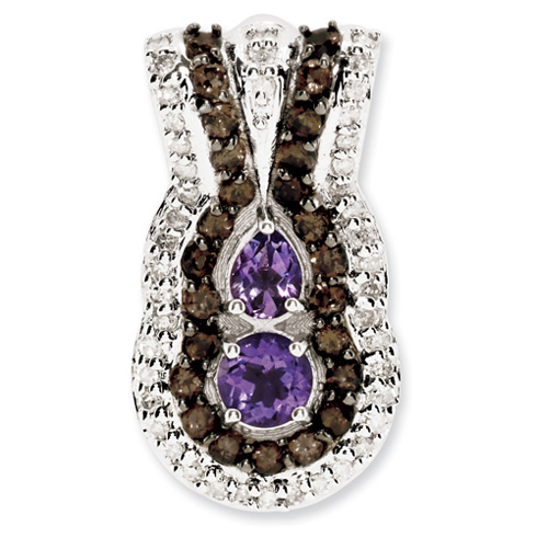 0.43 ct Sterling Silver Amethyst and Smokey Quartz and Diamond Pendant