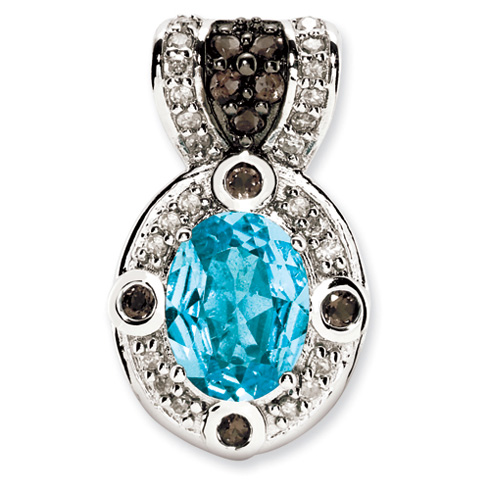 1.35 ct Sterling Silver Blue Topaz and Smokey Quartz and Diamond Pendant