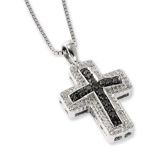 Sterling Silver 0.5 Ct Black and White Diamond Latin Cross Necklace