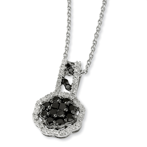 1.15 Ct Sterling Silver Black and White Diamond Necklace