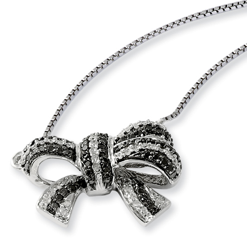 0.34 Ct Sterling Silver Black and White Diamond Bow Necklace