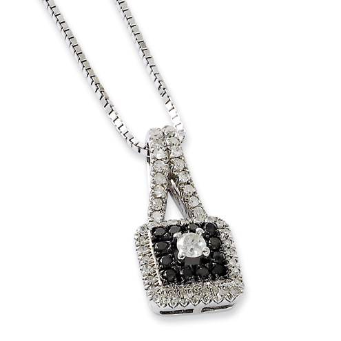 0.50 Ct Sterling Silver Black and White Diamond Square Necklace