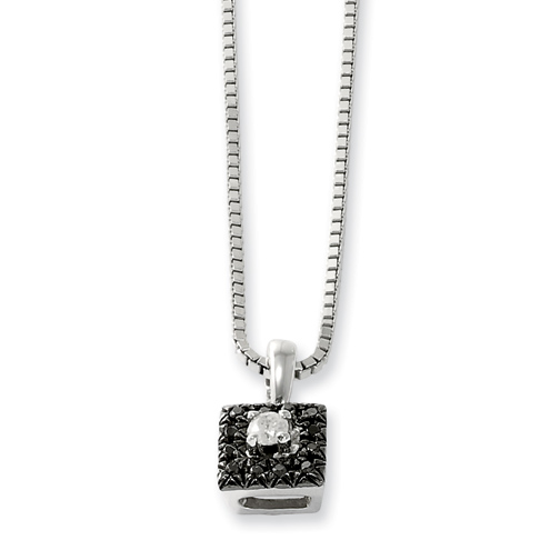 0.11 Ct Sterling Silver Black and White Diamond Square Necklace
