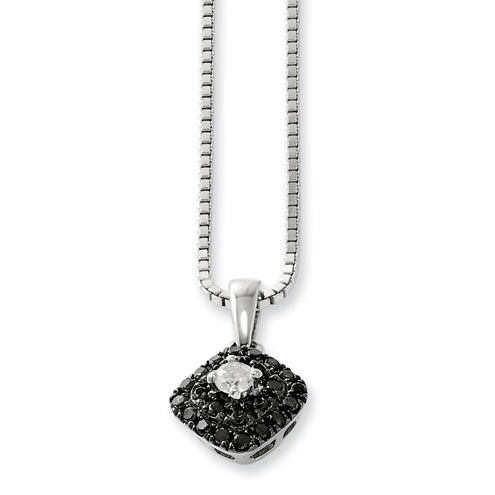 0.24 Ct Sterling Silver Black and White Diamond Square Necklace