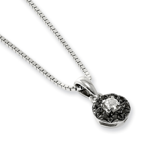 0.13 Ct Sterling Silver Black and White Diamond Circle Necklace