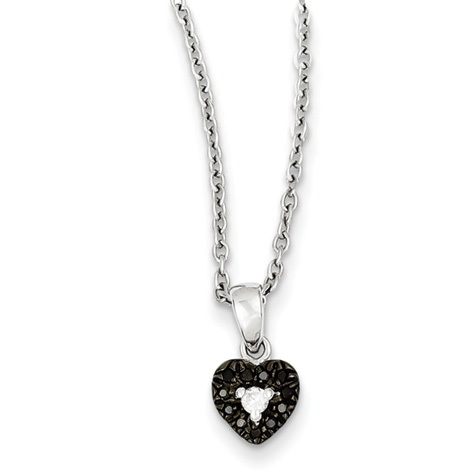 0.10 Ct Sterling Silver Black and White Diamond Heart Necklace