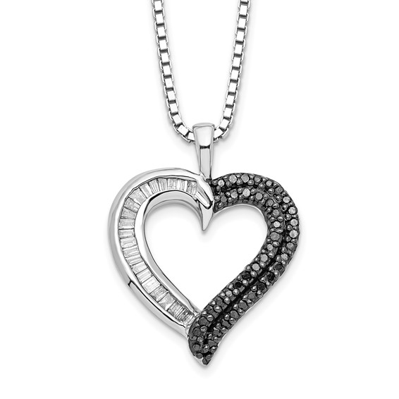 0.26 Ct Sterling Silver Black and White Diamond Heart Necklace