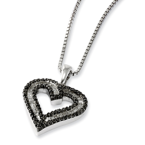 0.33 Ct Sterling Silver Black and White Diamond Heart Necklace